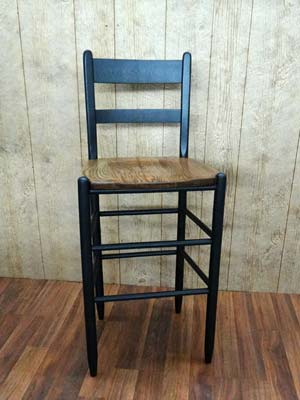 "PAIR of 1930 Cottage 30"" Stools - Indigo Black w/Solid Wood Seat"