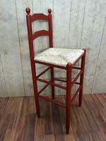 530 Martha Washington Ladder Back Stool-Cinnamon Red w/Sea Grass Seat